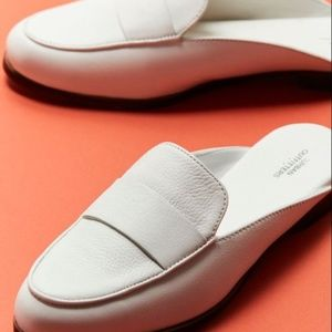 Urban Outfitters White Leather Loafer Mule